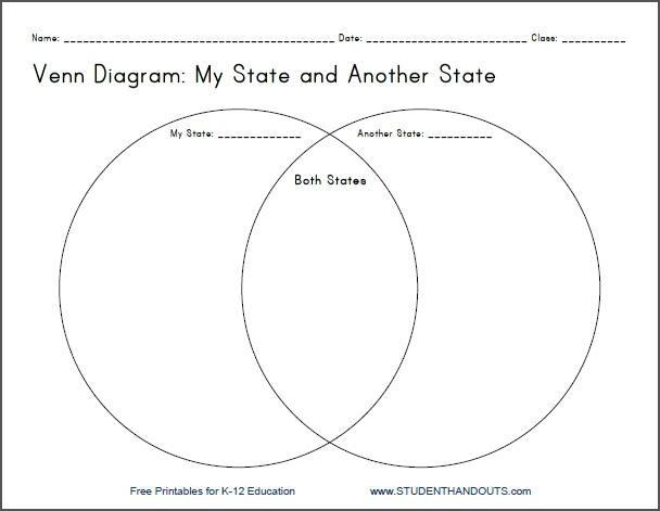 My State Venn Diagram Printable Worksheet For Grades 4