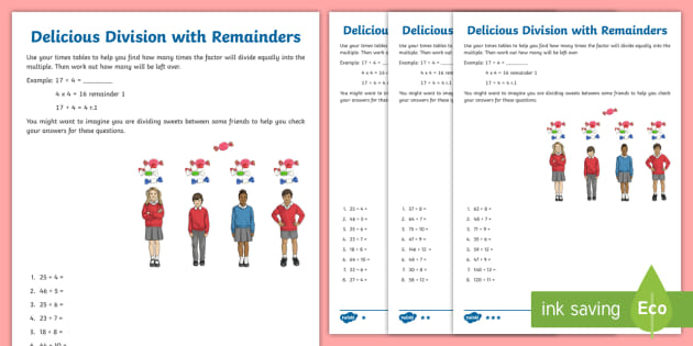 Delicious Division With Remainders Worksheet   Worksheet