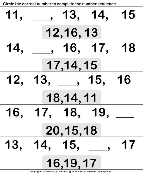 Ordinal Numbers Eleven To Twenty Worksheet