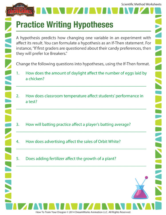 Practice Writing Hypotheses Worksheet