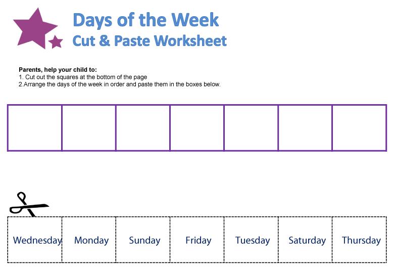 Preschool Days Of The Week Worksheets