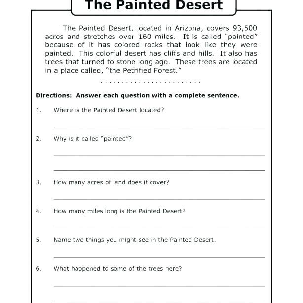 English Comprehension Worksheets For Grade 4