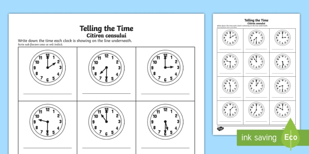 O'clock And Half Past Times Worksheet   Worksheet English Romanian