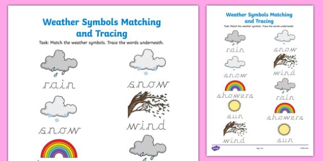 Weather Symbols Matching And Tracing Worksheet   Worksheet