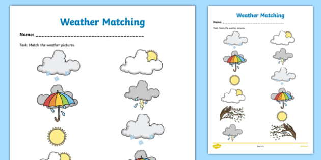 Weather Symbols Matching Worksheet   Worksheet