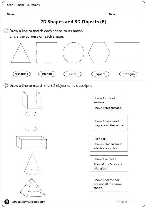 Shapes Worksheets Grade 1 2d Shapes Worksheets For Grade 2 2d