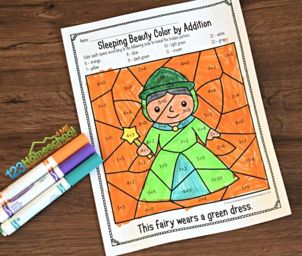 Free Sleeping Beauty Color By Addition – Kindergarten Worksheets