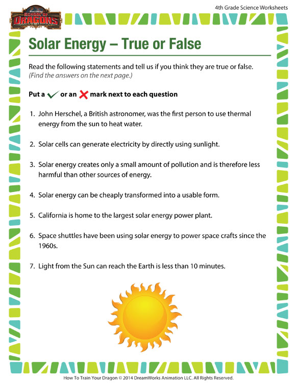 Solar Energy True Or False View – 4th Grade Worksheet