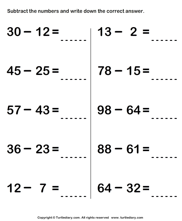 Subtract And Write Difference Worksheet