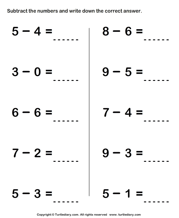 Subtracting Two One Digit Numbers Within Ten Worksheet