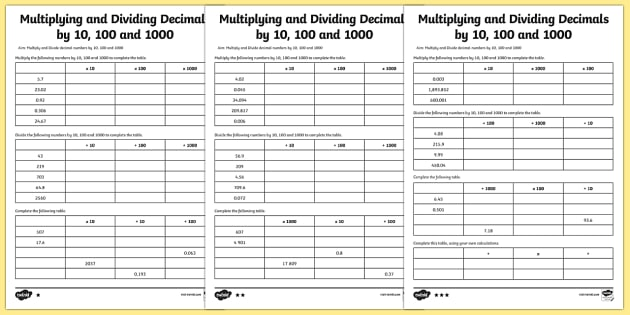 Multiplying And Dividing Decimals By 10, 100 & 1000 Worksheet
