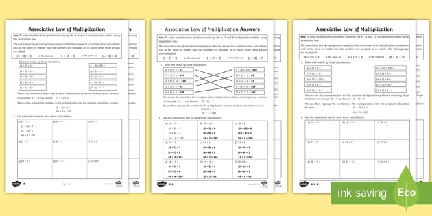 Ks2 Associative Law Multiplication Differentiated Worksheet