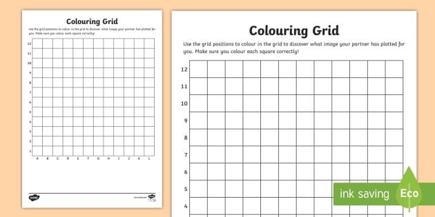 Blank Coloring Grid Worksheet   Worksheet