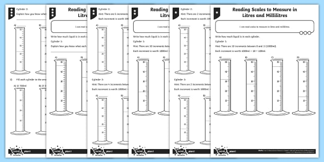 Reading Scales In Litres And Millilitres Differentiated Worksheet