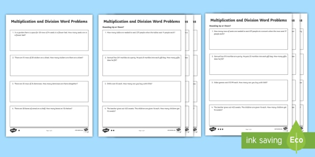 Editable Differentiated Multiplication And Division Word Problems