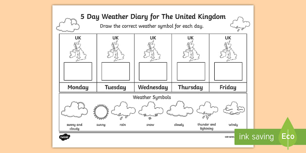 5 Day Weather Diary For The United Kingdom Worksheet   Worksheet