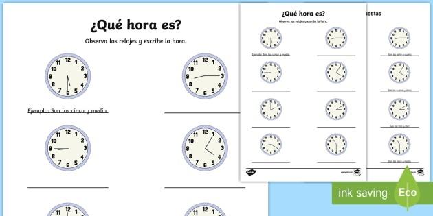 What Time Is It  Writing Worksheet   Worksheet Spanish