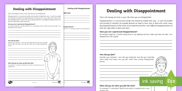 Dealing With Disappointment Worksheet   Worksheet