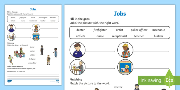 Jobs Worksheet   Worksheet, Worksheet