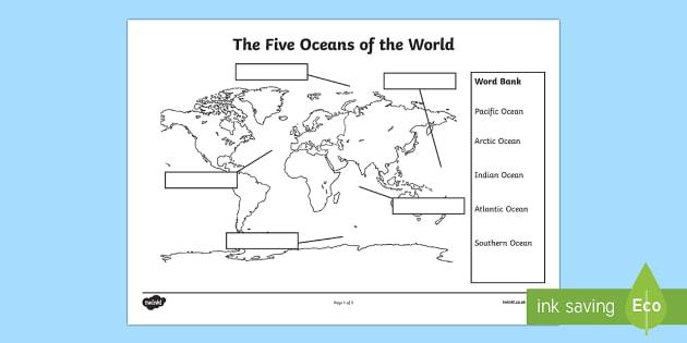 The Five Oceans Labelling Map Worksheet   Worksheet