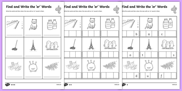 Find And Write The Er Words Differentiated Worksheet   Worksheet Pack