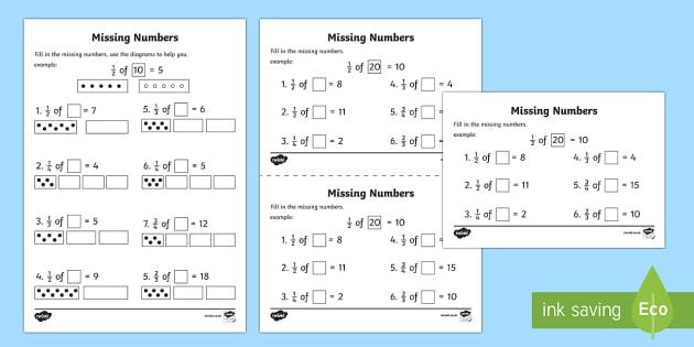 Fractions Missing Numbers Worksheet   Worksheets