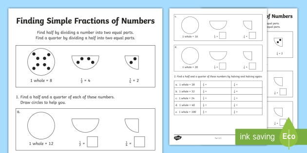 Ks1 Fractions Of Amounts Worksheet