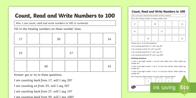 Year 1 Count Read And Write Numbers Maths Mastery Worksheet