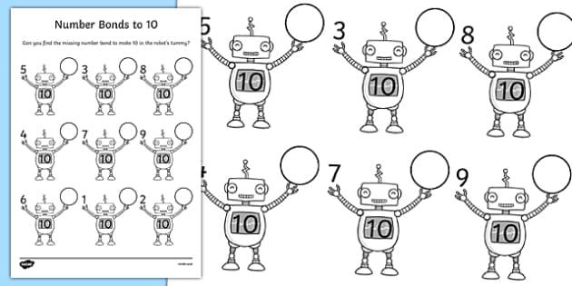 Number Bonds To 10 Robots Worksheet