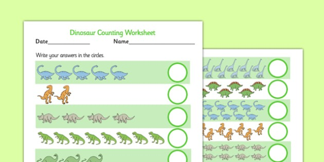 Dinosaur Counting Worksheet Up To 20