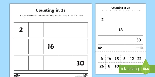 Counting In 2s Cut And Stick Worksheet   Worksheet