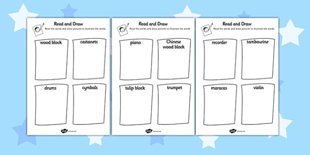 Musical Instrument Read And Draw Worksheet