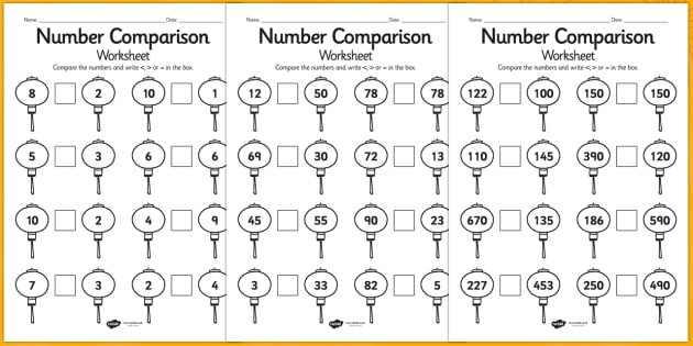 Chinese Number Comparison Worksheet Differentiated