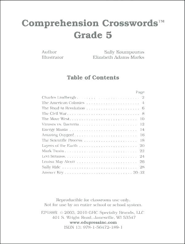 Table Of Contents Worksheets 4th Grade