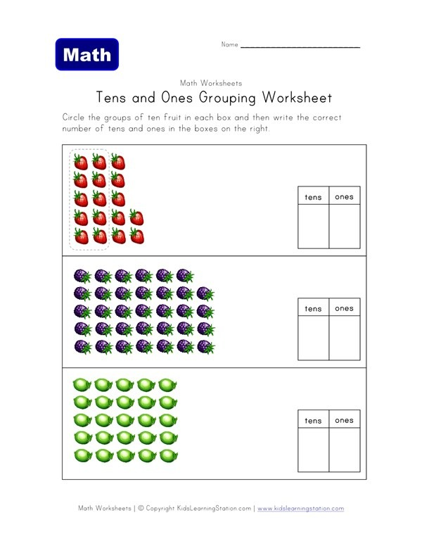 Tens And Ones Grouping Worksheet