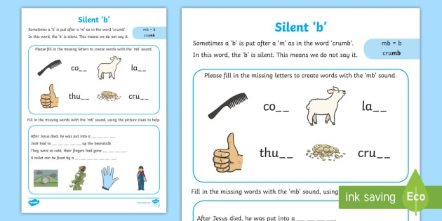 Silent B Worksheet   Worksheet