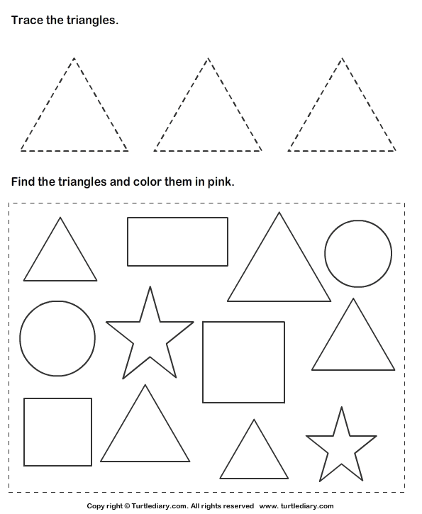 Trace Triangles And Color Them Worksheet