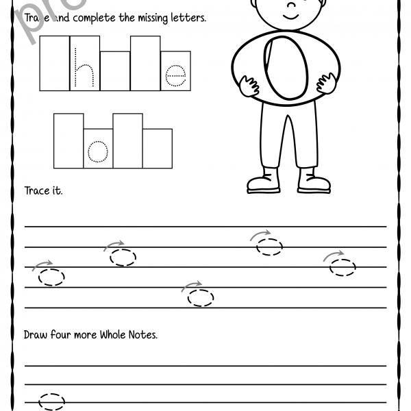 Tracing Music Notes Worksheets For Kids   Anastasiya Multimedia Studio