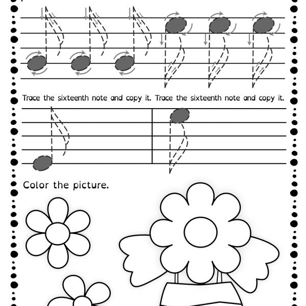 Tracing Music Notes Worksheets For Spring   Anastasiya Multimedia
