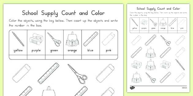 Wallpapers School Supplies Worksheets For Kindergarten School