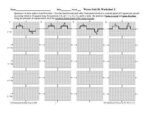Waves Unit 10, Worksheet 3