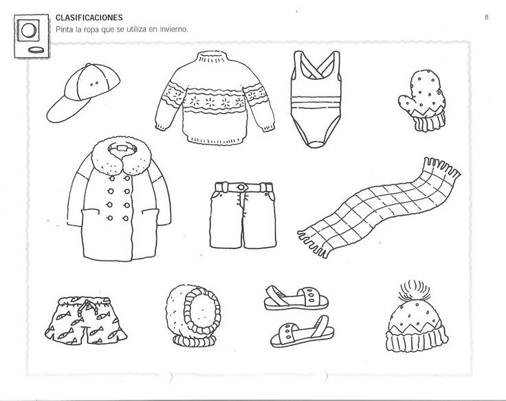 Winter Clothing Worksheets For Preschool