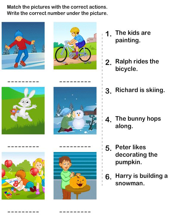 Worksheets For Kindergarten On Verbs