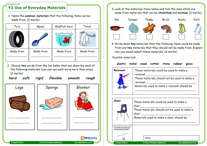Year 2 Science Assessment Worksheet With Answers – Everyday