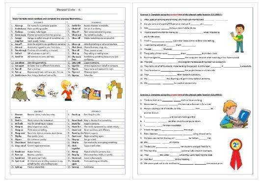 Phrasal Verbs Beginning With S Revision Worksheet