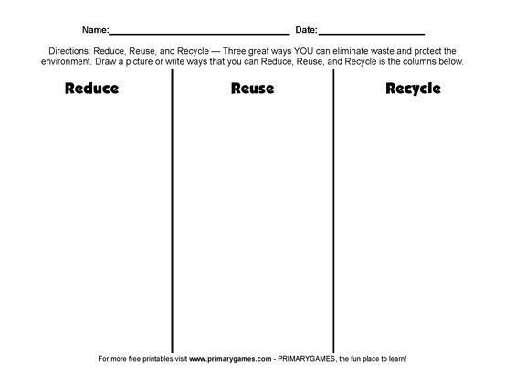 Free Earth Day Worksheets  Reduce, Reuse, Recycle!