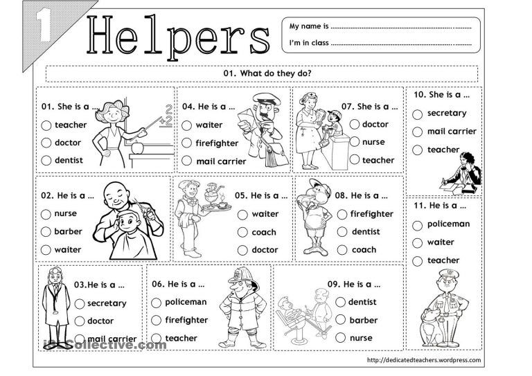 15 Best Images Of Free Printable Worksheets Community Helpers For
