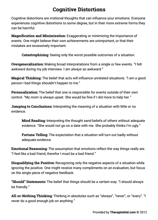 Cognitive Distortions (worksheet