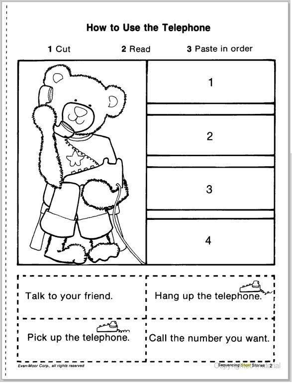 Kindergarten Sequencing Cut And Paste Worksheets