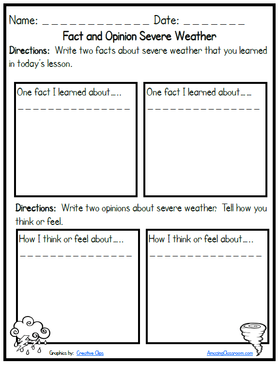 Severe Weather Fact And Opinion Printable Worksheet With Answer